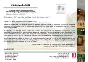 Article de Francis HOERLER sur le L'Aulée Tendre 2004